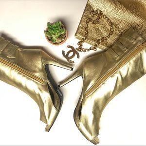Breckelles Metalic Gold Peep toe Heels